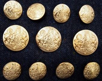 Gold Metal Blazer Buttons Set for suit jacket, blazer, or sport coat