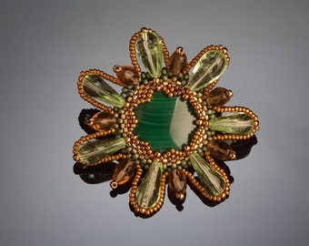 Brooch Beadwork Beaded green-bronse Brooch Enchanted Flower Brooch Flower Brooch