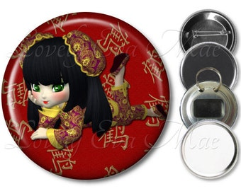Chinese Girl Pocket Mirror, Magnet, Bottle Opener Key Ring, Pin Back Button