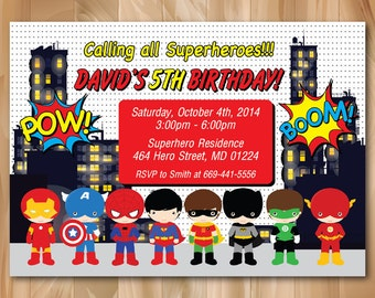 super hero birthday party invitation superhero pop art bday invite boy birthday kids - Superhero Birthday Party Invitations