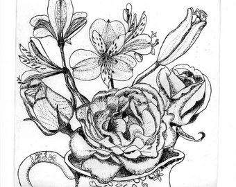 Roses and  Alstromeria - Hand Printed, Black & White;Original Intaglio Etching and Engraving, Limited Edition, Flower,Garden,Botanical,Print