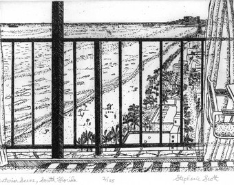 Interior Scene - Florida  Etching & Engraving, Hand-printed original print