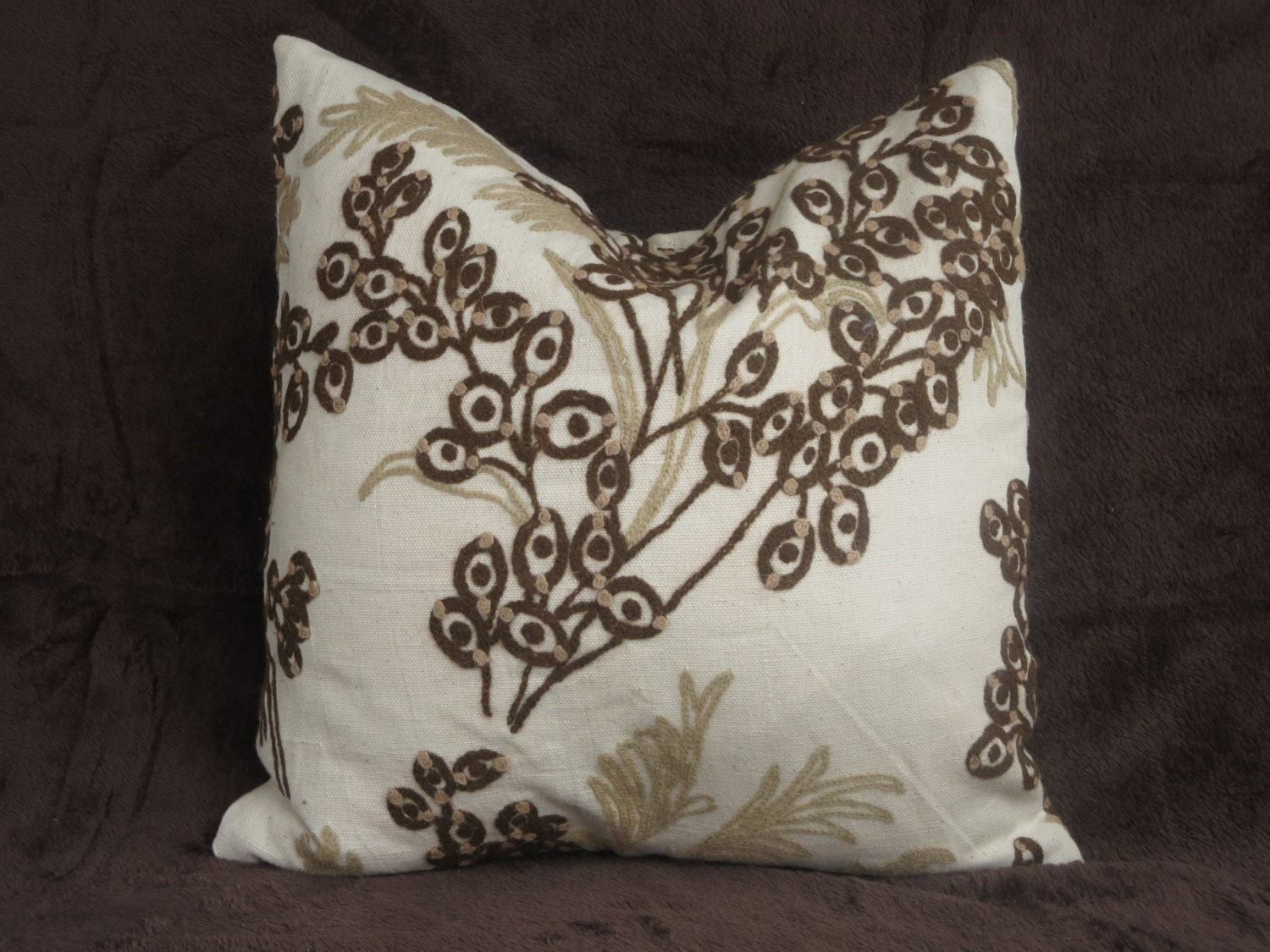 Cream Decorative Pillow Covers : Pillow cover 20x20 throw pillow embroidered cream cream