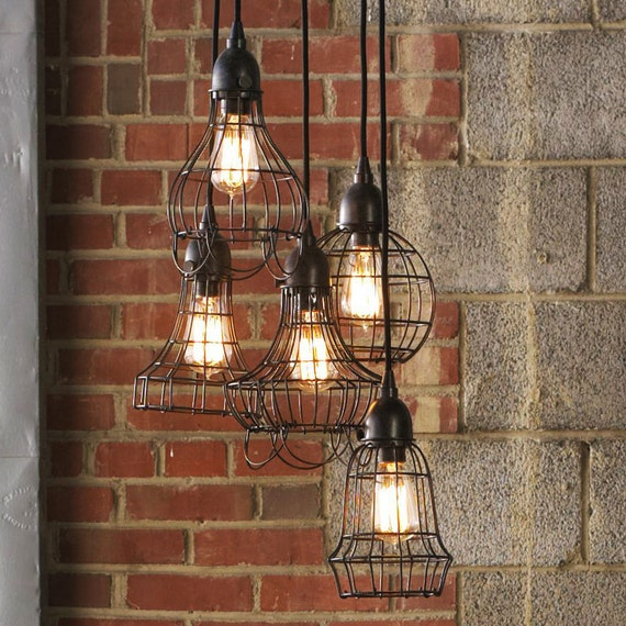 Items Similar To Rustic Light Pendant Lighting Pulley On Etsy: Items Similar To Loft Style Rustic Wire Cage Industrial