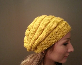 Free Shipping Women's Slouchy Mustard Beanie Hat