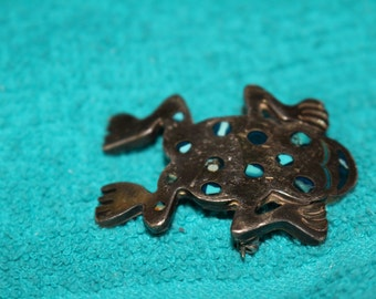 VIntage .925 Sterling Silver Frog Pin with Turquoise inlay