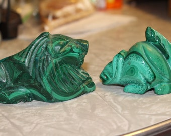 Vintage Malachite Lion and Malachite Squirrel Carving