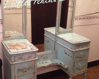 2DIE4! Antique Vintage Vanity 1920's Vintage, Multiple Mirror Options, Custom Painted to Order -CONVO to have this restyled, Chic 'n Unique!