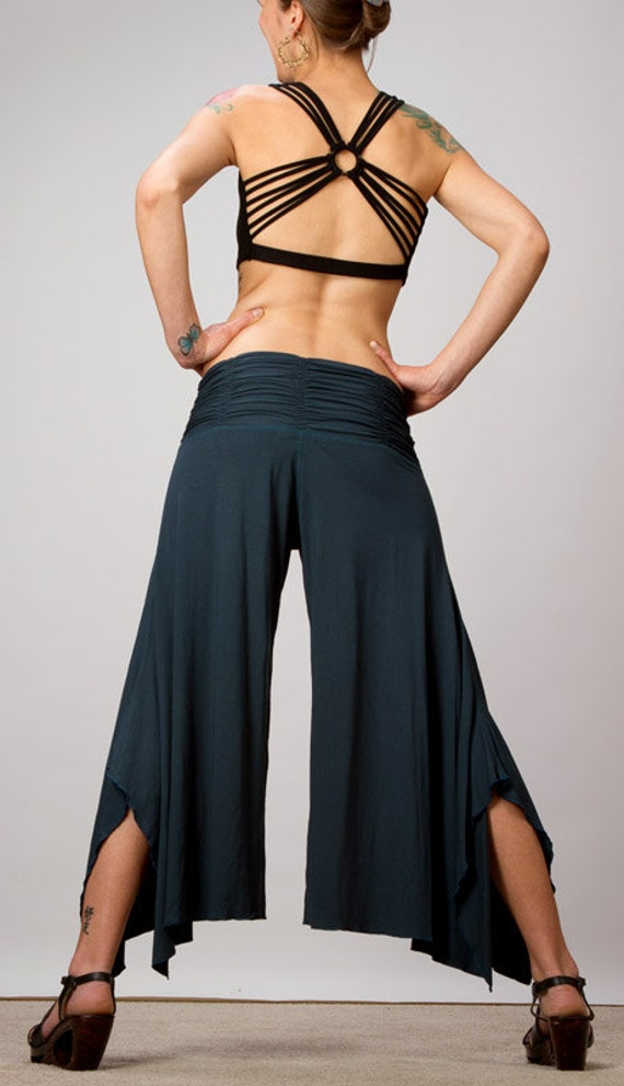 Shakti Ruched Waistband Comfortable Wide Leg Pants in Dark Teal or Black