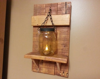 Mason jar Candle Holder, Country Decor,  Rustic Wedding lantern shelf, reclaimed wood candle holder,  price is for 1 each