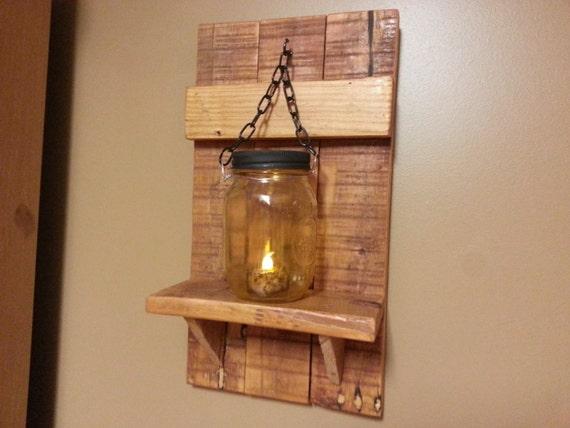 Mason jar Candle Holder, Country Decor, sconce candle holder, lantern  shelf, reclaimed - Mason Jar Candle Holder Country Decor Sconce Candle Holder
