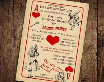 Alice in Wonderland Bridal Shower Invitation - Vintage Playing Card Tea Party -Printable DIY