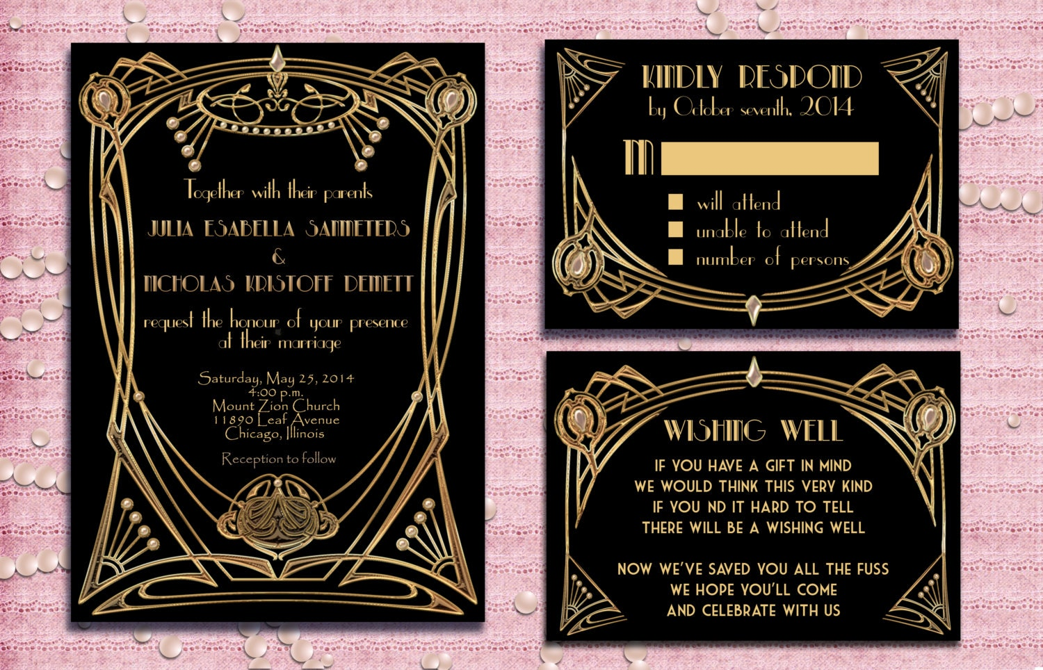 Great Gatsby Style Art Deco Wedding Invitation Suite With RSVP Card And Wishi
