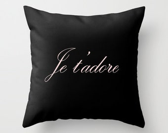 Paris Decor, Black Throw Pillow Cover, Paris Bedroom Decor, Black Pink Cushion, Velvet Pillow, Gifts for Women, Gifts for Her, 18x18, 22x22
