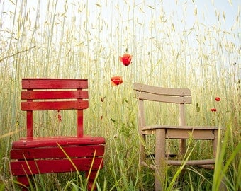 photo print, photography print, home decor, large size wall art, wall decor, autumn photo, indian summer poppy poppies red chair