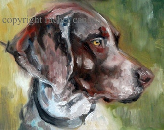 German Shorthaired Pointer Dog Art Oil Painting Print - 'German Green'