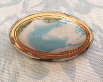 Channel Islands - Blue Marbled Ceramic Brooch - Large Oval Brooch With Goldtone Surround - 1980