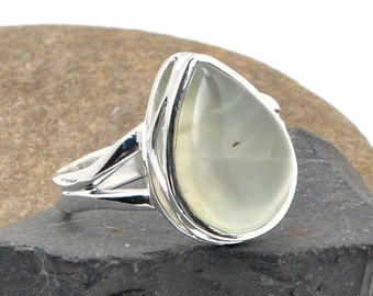 Prehnite Ring, Prehnite Silver Ring, Sterling Silver Ring, Prehnite Sterling Silver Ring, Silver Ring, Gemstone Ring, 43005