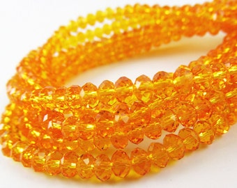 Orange Crystal Rondelles 6x8mm***********FULL STRAND*************