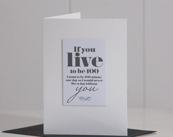 Never Live A Day Without You Card, Romantic Card, Love Card, Anniversary Card, A5, A6