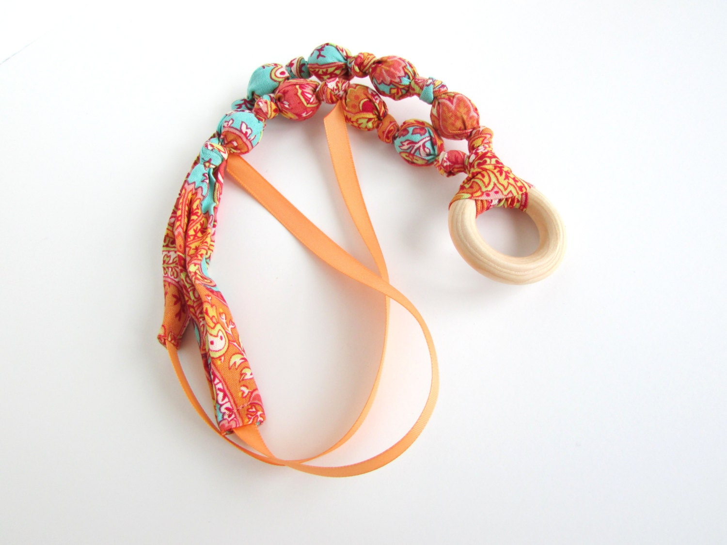 orange teal turquoise beaded fabric necklace nursing