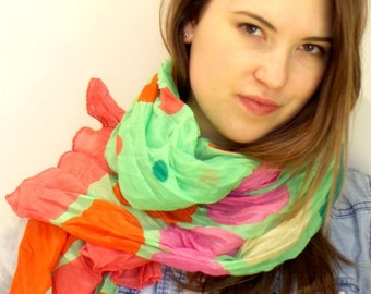 Multicolor scarf, dotted scarf, green scarf, polka dot scarf, casual scarf, Boho Scarf, summer scarf, delicate scarf, light scarf.