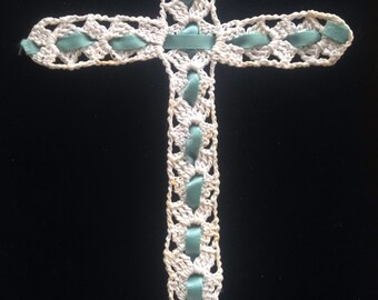 Crocheted Cross with teal ribbon
