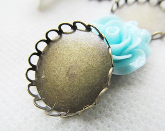 Antique Bronze Blank Round Charm Finding,Base Setting Tray Bezel,Lace Border,fit 25mm Cabochon/Bottle