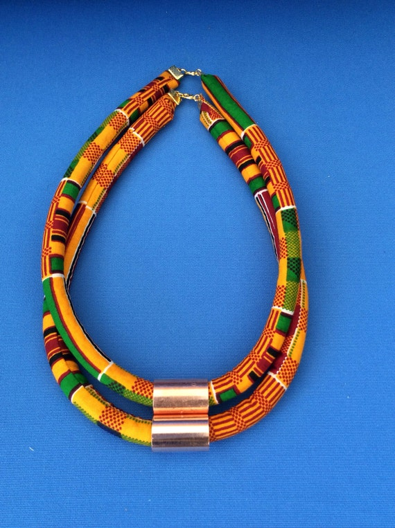 One ankara rope necklace tribal necklace statement necklace for How to make african jewelry crafts