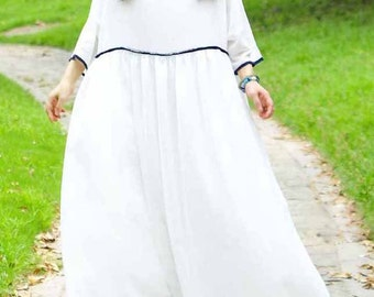 loose style big maxi wedding beach dress -white