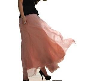 big flare maxi chiffon skirt -soft pink color