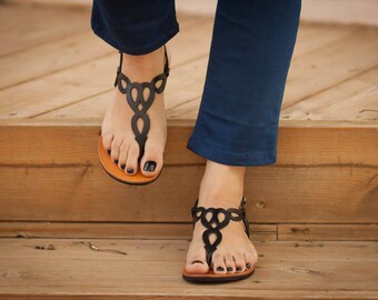 Black Leather Sandals, Black Sandals, Flat Sandals, Summer Shoes , Free Shipping