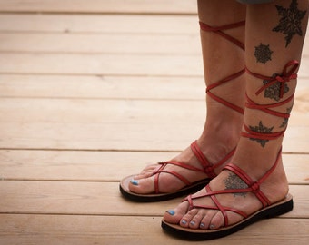 Red Leather Sandals, Red Gladiator Sandals, Greek Sandals, Red Sandals, Summer Shoes , Free Shipping