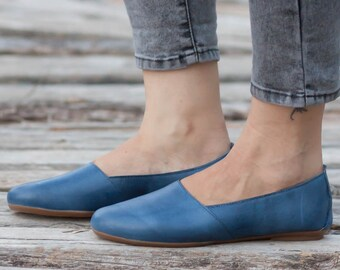 Blue Leather Shoes, Blue Shoes, Loafers, Flat Shoes, Blue Slip Ons , Free Shipping