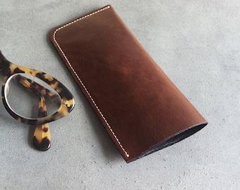 Leather sunglasses case, eyeglasses case, brown, handmade