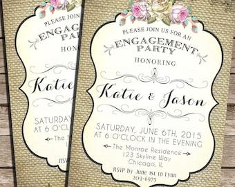 Burlap Engagement Party Invitations