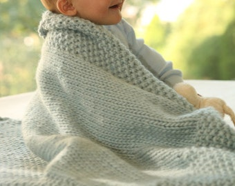 Hand Knit Baby Crib Blanket in Any Colour.made to order