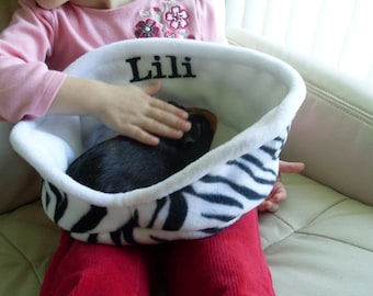 Personalized guinea pig cuddle cup - bed - zebra print  - MADE TO ORDER