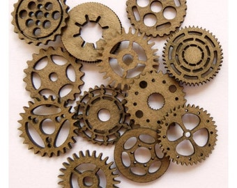 """Steampunk Gears 1"""" (Set of 12) Laser Cut Chipboard FREE SHIPPING! in US and Canada"""