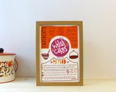Welsh Cakes Recipe Print - Orange - Giclee Print A4