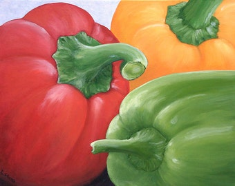 11x14 Giclee Archival Print by artist Laurie Schena - Bell Peppers
