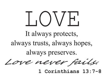 Love It always Protects..1 Corinthians 13: 7-8 scripture vinyl wall qutoe