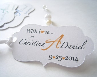 Personalized favor tags, wedding favor tags, monogram favor lables, thank you favor tags, with love tags  - 30 count