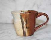 Half and Half Mug small ceramic coffee cup small tea cup in brown and tan gift under 15