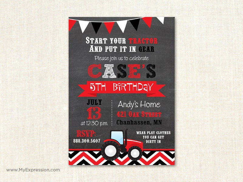 il_fullxfull.649488176_gs94 red tractor birthday invitation tractor farm hay birthday,Tractor Birthday Party Invitations
