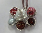 Handmade Wire-wrapped Necklace Pendant - red