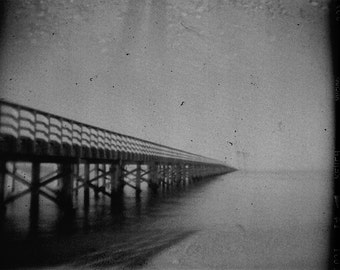 "Black and White Fine Art Holga Photography Print ""Powder Point Bridge"""