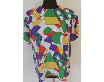 Vintage 80s Abstract Blouse