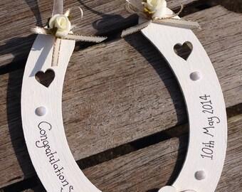 Personalised Wedding Horseshoe Gift : Personalised lucky wedding horseshoe gift hanging decoration