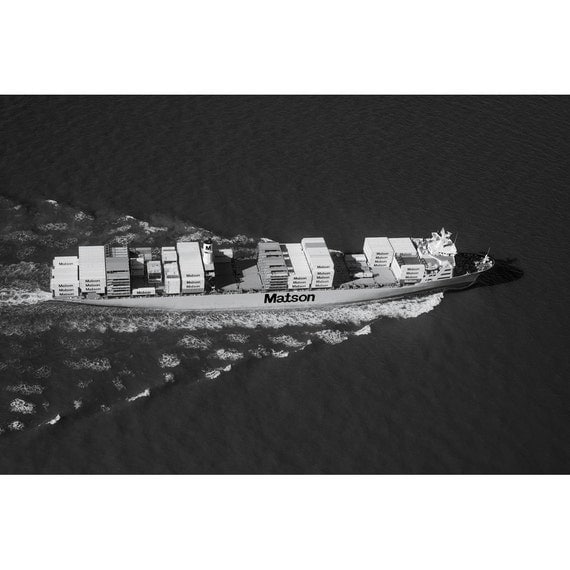 Items similar to matson container ship an aerial view a black and white photograph 10x15 on etsy - Matson container homes ...